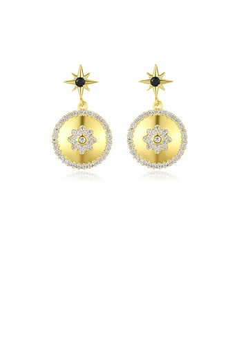 Glamorousky white Fashion Simple Plated Gold Star Round Earrings with Cubic Zirconia 67E63AC0539DC5GS_1