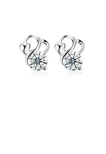 Glamorousky white 925 Sterling Silver Simple Elegant Exquisit Fashion Earrings and Ear Studs with Cubic Zircon F286DAC344CBB4GS_1