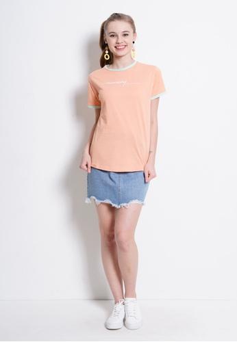 Fave orange Short Sleeve Graphic Tee 4DBFCAAB945346GS_1