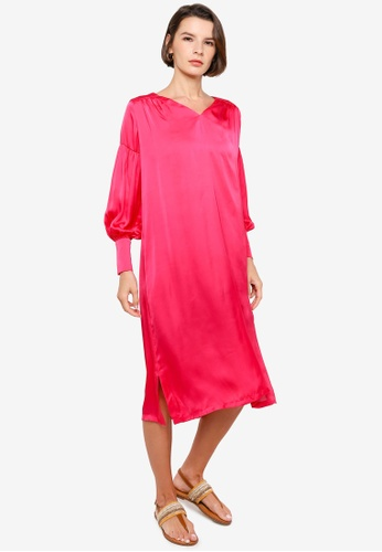 H&M pink Balloon-Sleeved Satin Dress DC31BAAC44E6AAGS_1