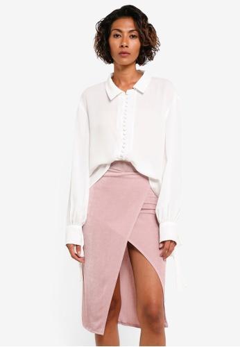 MISSGUIDED white White Button Through Tie Cuff Collared Shirt MI511AA0RGWZMY_1