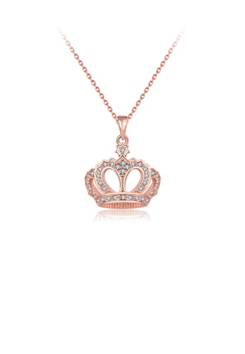 Glamorousky white Noble Rose Plated Gold Crown Pendant with Austrian Element Crystal and Necklace 7AEE6AC29978ABGS_1