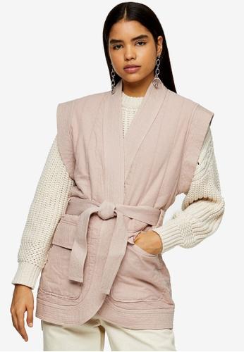 TOPSHOP pink Rose Pink Sleeveless Tie Jacket 6C1E0AA21393E4GS_1