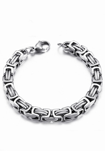 LYCKA silver J171068 316L titanium steel square steel bracelet - silver LY529AC0GYBWSG_1