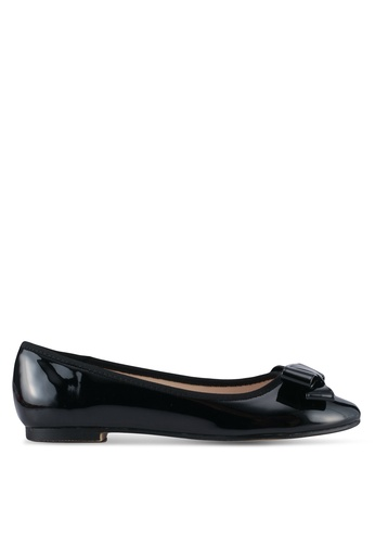 Velvet black Faux Patent Leather Bow Flats 5359DSHE0C5470GS_1