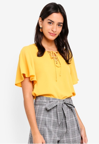 ZALORA yellow Boxy Top With Flare Sleeves D9BF2AA16BBAC8GS_1
