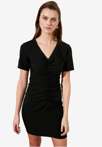 Trendyol black Gathered Front Short Sleeve Dress 285F8AA63B2653GS_1