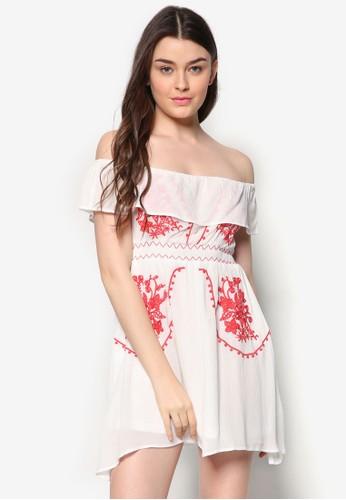 zalora 手錶 評價露肩繡花連身裙, 服飾, 服飾