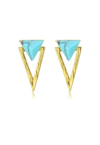 SUNRAIS gold High quality Silver S925 golden triangle earrings 7F452AC121A940GS_1