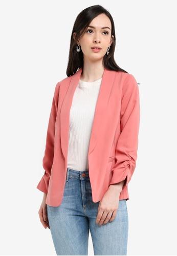 Dorothy Perkins pink and orange Rose Ruche Sleeve Blazer F9DAEAA6ED525EGS_1