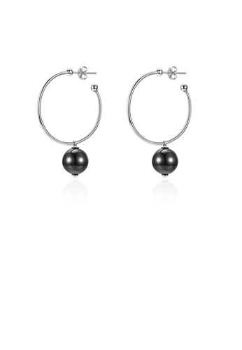 Glamorousky white 925 Sterling Silver Elegant Fashion Circle Earrings with Black Pearl 2F4D4AC1B5AB90GS_1