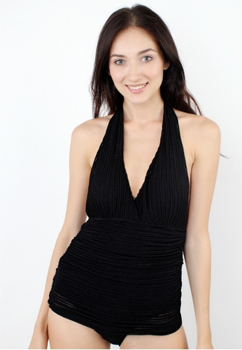Shapes and Curves black Classic See Through One Piece Swimsuit Dress SH408US35FWQPH_1
