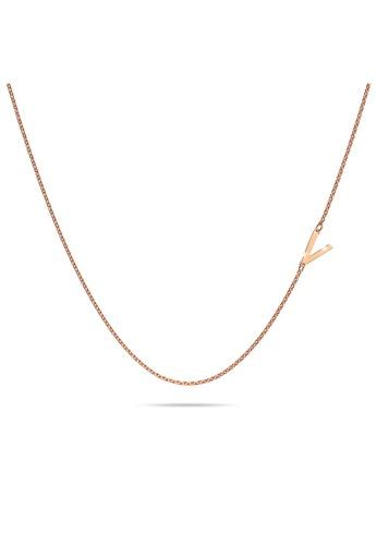 Bullion Gold gold BULLION GOLD Bold Alphabet Letter Initial Charm Necklace in Rose Gold Tone - V D150EAC387690FGS_1