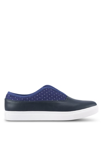JAXON navy Slip On Dotted Mixed Material Sneakers 8F05BSH1320703GS_1