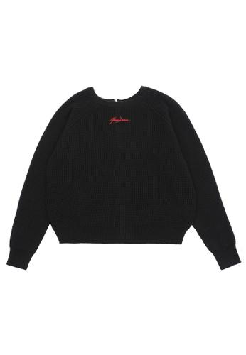 MUSIUM DIV black Embroidered zip crewneck sweater D0F5FAA3B17571GS_1