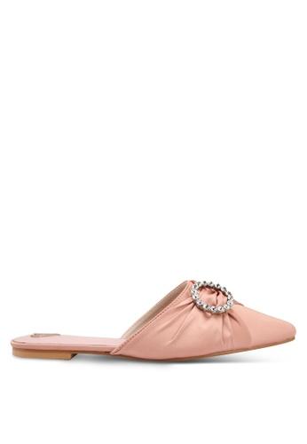 Velvet pink Embellished Slip-on Flats 8802BSHD35B669GS_1