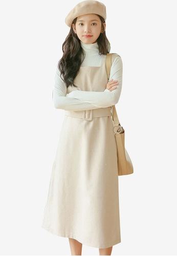 Shopsfashion beige Midi Slip Dress With Belt 43199AA80D38ACGS_1
