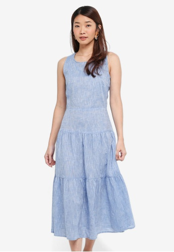 WAREHOUSE blue Chambray Tiered Midi Dress 9A263AAA757FD5GS_1