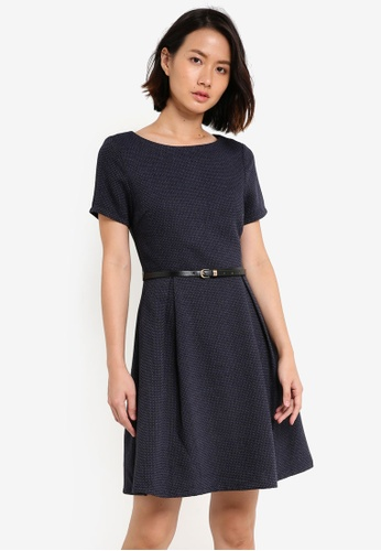 ZALORA navy Textured Fit & Flare Dress with Belt 290D5AA3A36B33GS_1