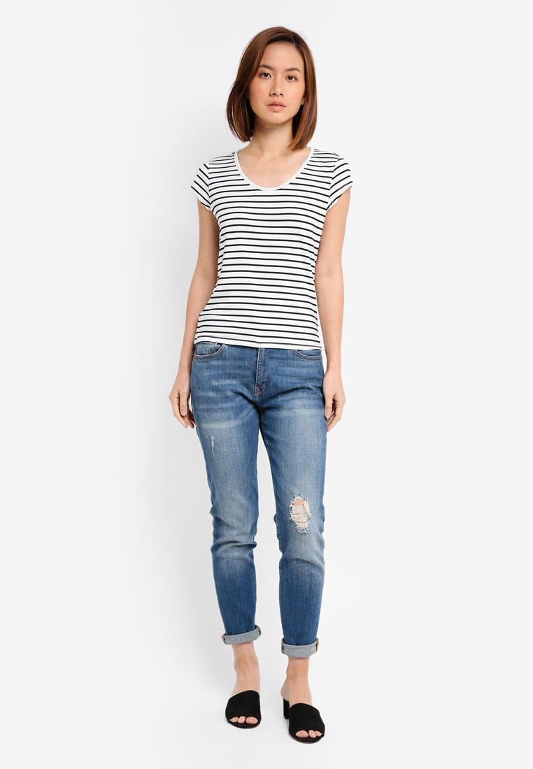 2 Pack White BASICS Essential Stripe amp; White Scoop Neck amp; Tee Black Stripe ZALORA Navy pqAgwx1n
