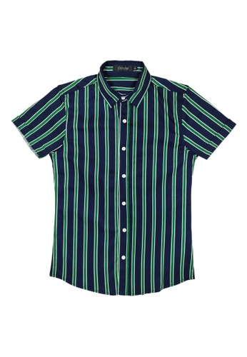 DRUM white and green and blue Stripe Short Sleeve Shirt - BLUE F7836AA1A1DC18GS_1