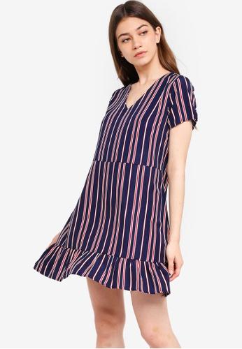 Something Borrowed multi V-Neck Fluted Hem Dress DCCE3AAAAFD099GS_1