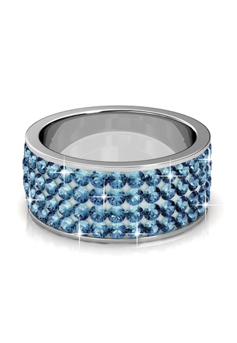Her Jewellery blue Swarovski® Crystals - Roller Ring (Blue) (18K White Gold Plated) Her Jewellery HE581AC0RAJHMY_1