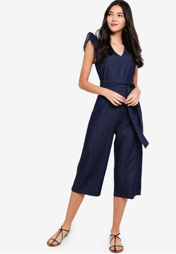 ZALORA navy Ruffle Sleeves Denim Jumpsuit DE869AA9968FBAGS_1