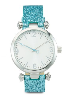 Rose Stud Round Face Strap Watch