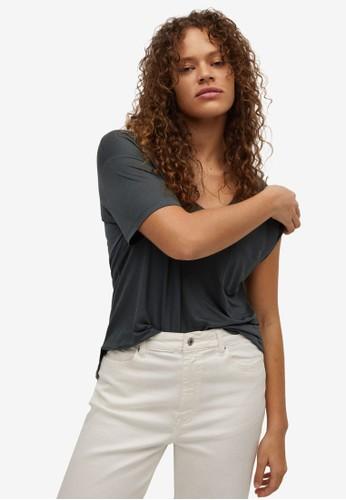 Violeta by MANGO grey Plus Size 100% Lyocell T-Shirt FDA90AA66EF66EGS_1