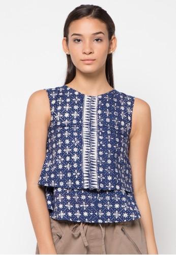 Le Viel Batik blue Vivian Tops LE804AA55VOQID_1