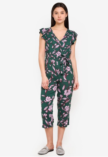 Cotton On green Woven Frankie V-Neck Culotte Jumpsuit 938E6AA6B3FDC7GS_1