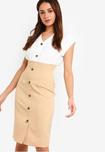 ZALORA white and multi Button Detail Sheath Dress 522D3AA7A1E7A5GS_1