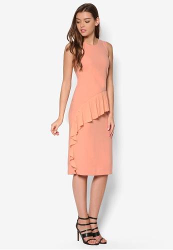 WAREHOUSE orange Frill Front Dress WA653AA32DXBMY_1