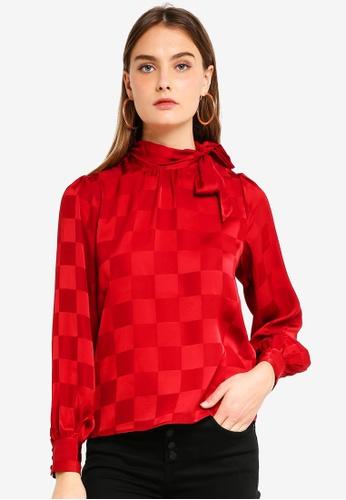 ICHI red Veroni Top 380D1AA94D453EGS_1
