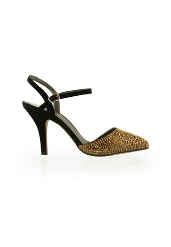 Gripz gold Crystcone Studded Crystals Slingback Heels GR357SH13IMWSG_1