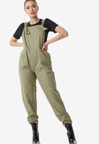 NA-KD 綠色 領帶 Strap Overalls 8F189AA74DD934GS_1