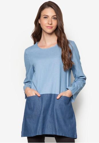 撞色丹寧長版T-shirt、 服飾、 上衣Zalia撞色丹寧長版上衣最新折價