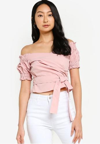 ZALORA BASICS pink Off Shoulder Top With Self Tie B2B86AA36CC295GS_1