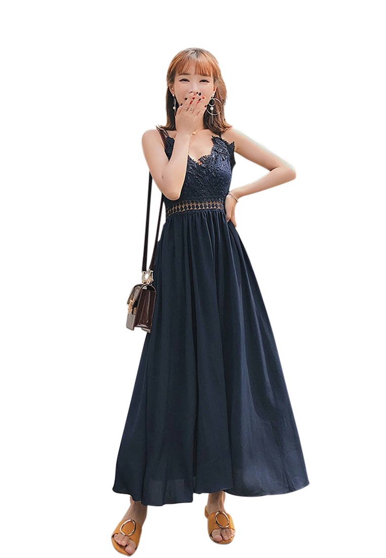 Chiffon Blue Sunnydaysweety A060407 Blue Spring Summer New Sundress 2018 qH6wI8vpn