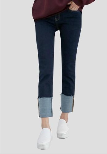 esprit旗艦店縫線捲邊牛仔褲, 服飾, 牛仔褲