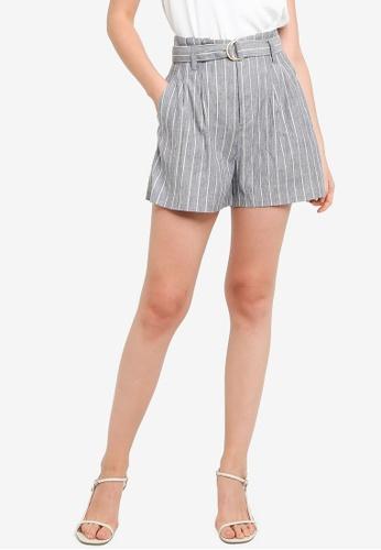 Hopeshow grey Paperbag Waist Striped Loose Cuff Shorts AE787AA8AC09F6GS_1