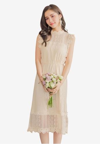 YOCO beige Laced Tie Detail Shift Dress C8B08AAC9A0E70GS_1