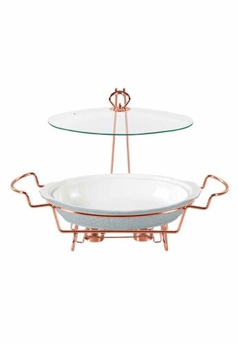 Slique white Oval Casserole Serving Dish W/ 2 Burner 3700ml 15988HL1C70E49GS_1