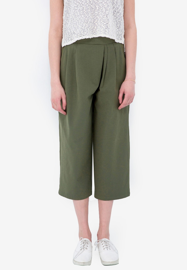 Wide Pleated Legged Kodz Green Pants C0YxTCqw