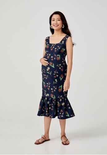 Love, Bonito blue Coralla Flare Hem Midi Dress in Springtime Tisane 57AD7AAE807607GS_1