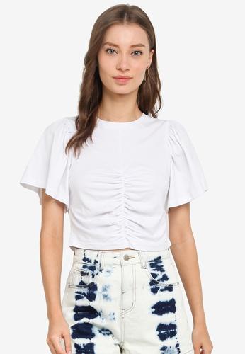 Urban Revivo 白色 Gathered T-襯衫 9BFEBAABD3D6F6GS_1