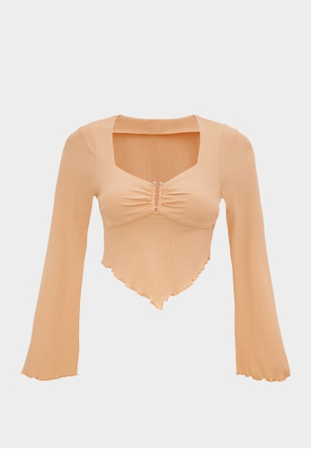 Pomelo beige Ringed Neckline Flare Blouse - Nude BF72BAA7BBD92BGS_1