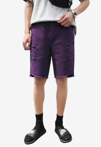 hk-ehunter 紫色 男士側條紋磨破設計短褲 561B2AACD15144GS_1
