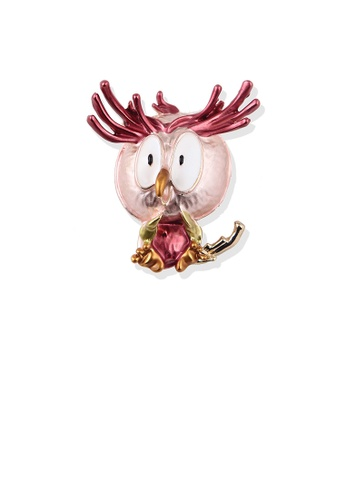 Glamorousky silver Fashion Cute Plated Gold Cartoon Pink Owl Brooch 5552CAC44BE1C8GS_1